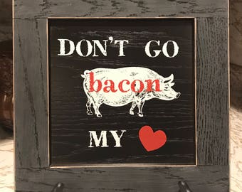 Wooden Farmhouse Pig Bacon Rustic Sign