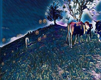 Digital Painting/Abstract Painting/SWEET COWS/Digital Print/Instant digital download