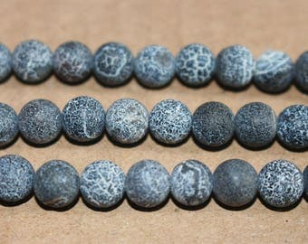 15 inches Full strand,Frost Black Agate Matte smooth round beads  6mm 8mm 10mm 12mm ,loose beads,semi-precious stone