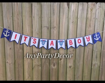 It's A Boy Nautical Banner - Nautical Baby Shower Banner