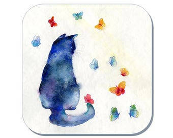 For Good Luck - Cat Coaster, Pet Coaster (Corked Back). From an original Sheila Gill Watercolour Painting