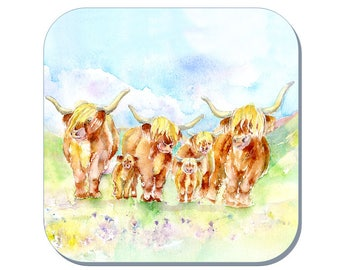 Highland Cows - Cow Coaster (Corked Back). From an original Sheila Gill Watercolour Painting