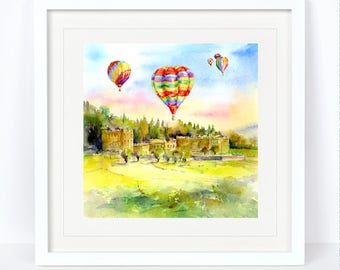 Balloons Over Chatsworth House - Derbyshire. Printed from an Original Sheila Gill Watercolour. Fine Art,Giclee Print,Hand Painted,Home Decor