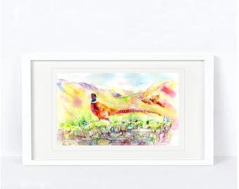 Pleasant Pheasant - Printed from an Original Sheila Gill Watercolour. Fine Art, Giclee Print, Hand Painted,Home Decor