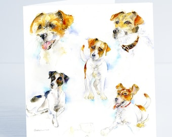 Jack Russell Terrier - Greeting Card - Taken from an original Sheila Gill Watercolour Painting.