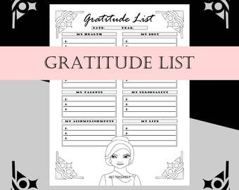 Printable Gratitude List for Appreciation for Your Morning Routine and Daily Rituals - US Letter Size