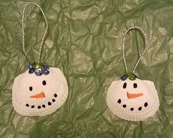 Hand painted shell snowman Christmas ornament