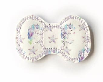 Watercolor Unicorn Embroidery Bow Snap Clip - Faux Leather - Snap Clips - 50mm Clips - 2.5 inches - Embroidery Bow - Hair Bows