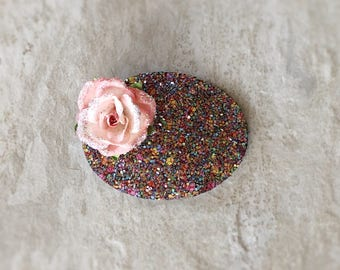 Confetti Chunky Glitter Oval Floral Snap Clip - Chunky Glitter - Prima Flowers - Faux Leather - Snap Clips - 50mm Clips