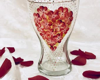 VALENTINE'S DAY GIFT Sale- Hand Painted  Glass Valentine's Floral Vase