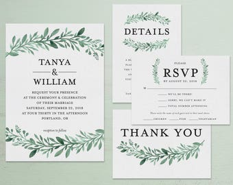 Greenery Watercolor Wedding Invitations and Wedding Suite - Customizable Printable Wedding Invitation Kit - Digital Download