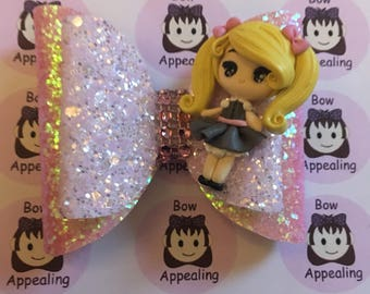 Double layer pink glitter hair bow with blonde haired clay figure for girls