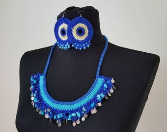 Hand-knit Crochet Necklace & Earrings: The Deep
