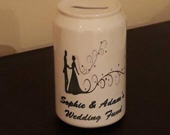 Personalised wedding money box.