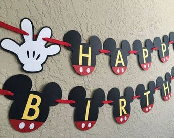 Mickey Mouse Party Banner - Happy Birthday