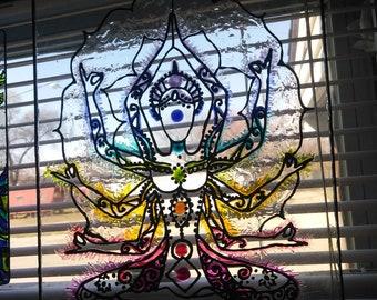 Hindu meditation stained glass sun catcher