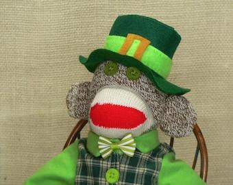 St. Patrick's Day Gift - Saint Paddy's Sock Monkey - Irishman Sock Monkey - One of a Kind