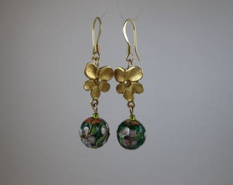 "Cloisonne ""Luau"" Earrings on Gold-Filled"