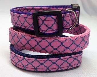 Dog Collar, Blue and pink Quatrefoil Dog Collar