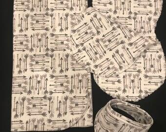 BUNDLE! Gender neutral Arrow blanket and pair of burp cloths