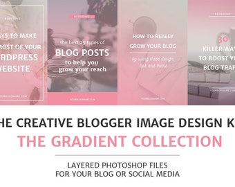 Gradient Blog Post and Social Media Image Templates / Photoshop Templates