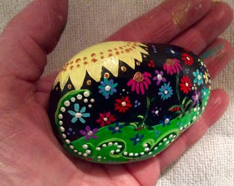 Cheery flower  and sun acrylic  hand-painted rock