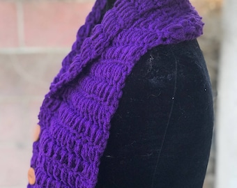 Purple with button scarf