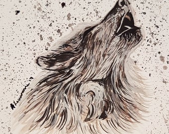 Hand painted Wolf watercolour painting