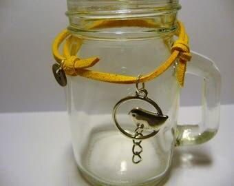 LADY BIRD: Yellow suede, bird, gold button Charm Bracelet