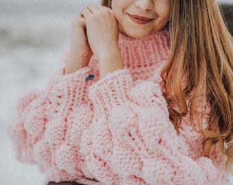 womens handknit sweater/handknit cardigan/chunky turtleneck/ fluffy cardigan/ handmade pink sweater/