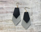 Black and Gray Double Diamond Leather Earrings