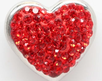 Red Rhinestone Heart Shaped Snap - Fits 18-20mm Ginger Snaps, Noosa, and Magnolia Vine snap jewelry - necklaces - bracelets      S0066