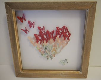 Heart Picture,Butterflies,Mothers Day Gift, Gift for Her, Birthday,Box Frame,Wall Art