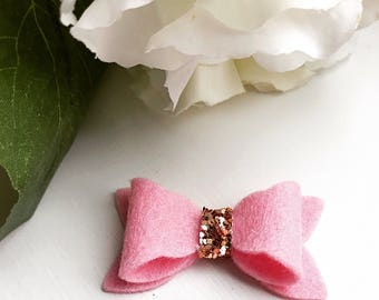 Spring Collection Hair Bow Pack   Pink Wool Felt   Gold Glitter   Baby   Toddler   100% Wool Felt