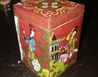 Antique Chinese Cloisonne Brass Trinket/Tea Box W Four Enameled Scenes Of Asian Women