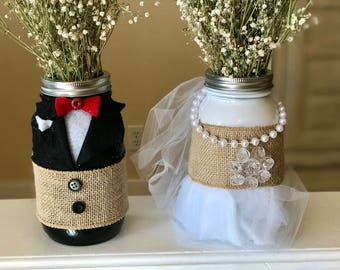 Quart sized Mason Jar Vase Set of a Bride and Groom Wedding Decoration