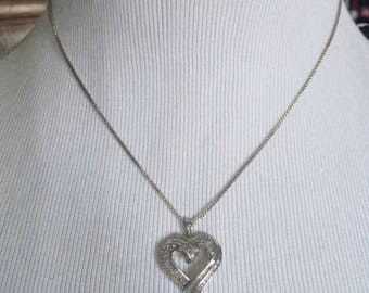 Vintage genuine Diamonds sterling silver heart pendant necklace