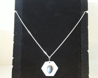 Stone on metal necklace