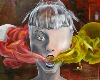 Oil on canvas painting. Colorful, figurative and large painting. Portait of a woman inhaling the sun and the moon. Horizontal and painting.