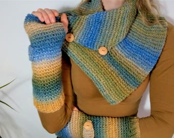 Set Fingerless Gloves and Neckband / Scarf
