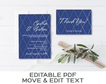 Blue and gold wedding invitation template Royal blue wedding invite printable Navy blue geometric wedding thank you card editable  - DIGITAL