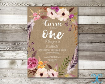 Birthday Invitation, Girl Birthday Invitation, Floral Birthday Invitation, First Birthday Invitation,Burlap Invitation,Burlap Printable, 005