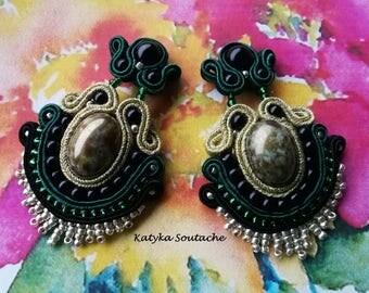 Soutache earrings, Elegant earrings, Boho earrings, Long earrings