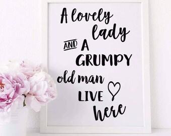 Lovely Lady Grumpy old man A4 Print