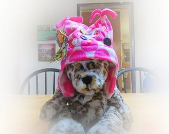 Hats For Girls, Neon Pink Polka Dots, Eco-Friendly Clothes, Machine Washable Kids Earflap Hats, Upcycled Treasures, Cute Winter Hats H040