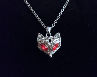 Jeweled White Fox Necklace