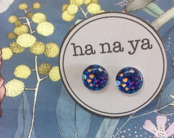 Blue Floral Glass Studs