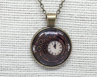 Steampunk Pendant, Cogs Pendant, Gears Pendant, Clock Pendant, Antique Bronze Pendant, Choose Chain Length