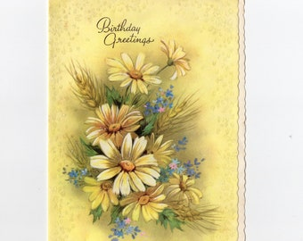 Vintage Daisies Pastel Yellow Birthday Card | Henry Longfellow Quote | Greeting Card | Coronation Collection Made in USA | Paper Ephemera