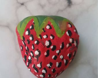 Hand Painted Strawberry rock